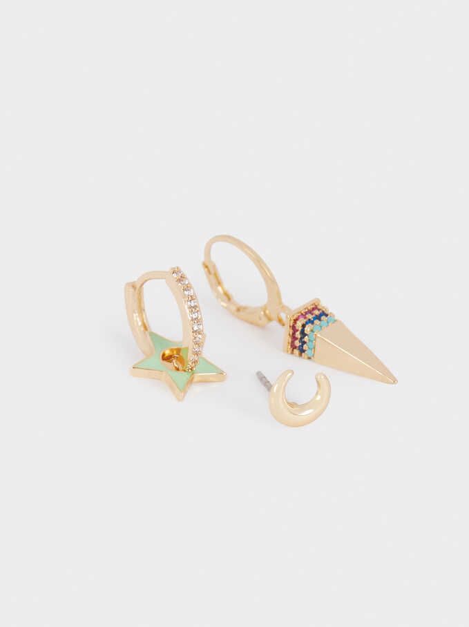 Set Of Charm Hoop Earrings, Multicolor, hi-res