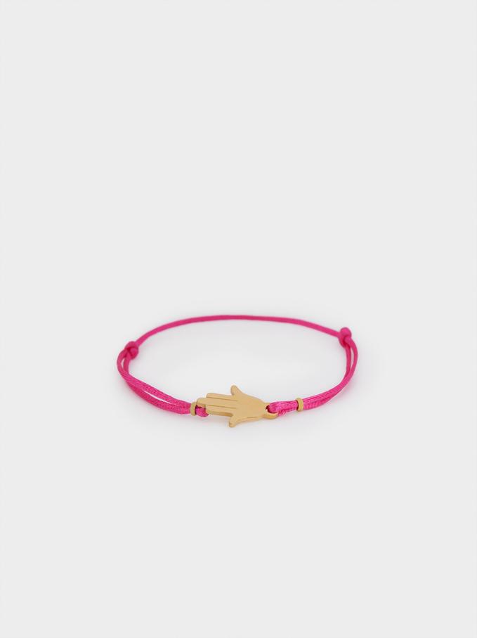 Bracelet Réglable En Cordon Main, Rose, hi-res