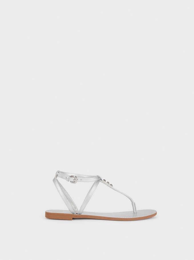 Flat Sandals With Stud Details, Silver, hi-res