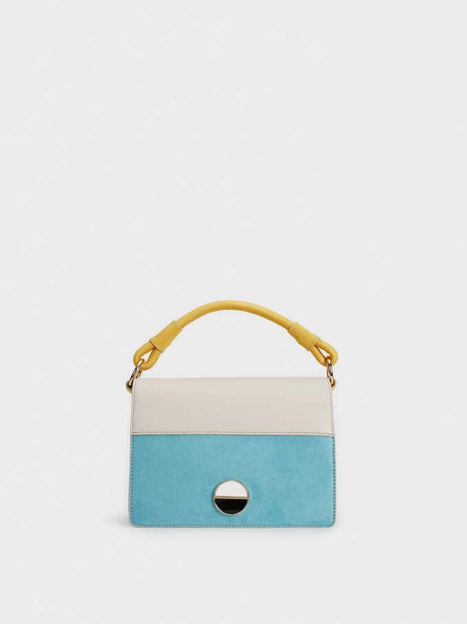 Faux Suede Crossbody Bag, Blue, hi-res