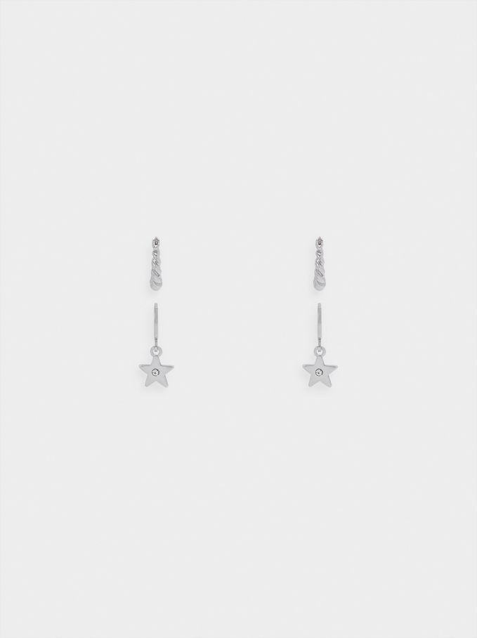 Set Of Earrings With Stars, Silver, hi-res