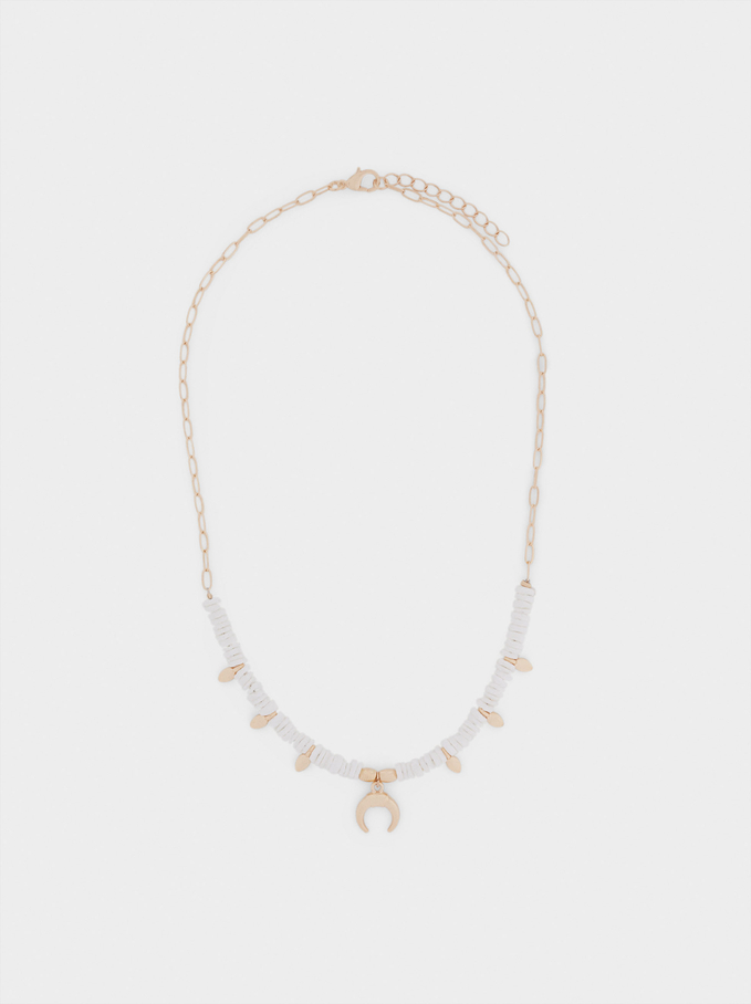 Short Shell Necklace With Horn, Golden, hi-res
