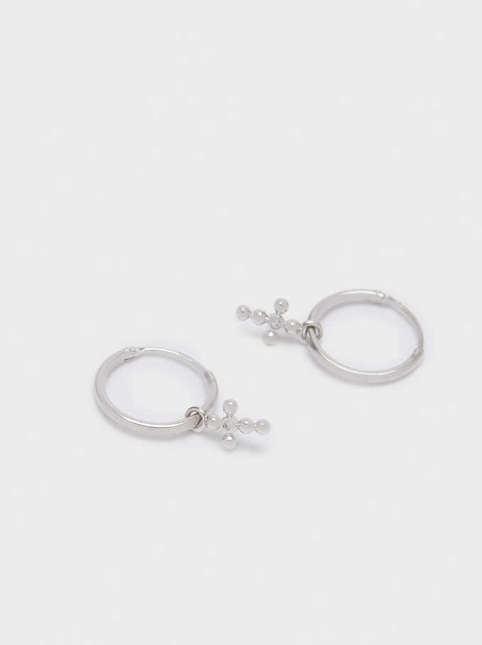 925 Sterling Silver Small Hoop Earrings With Cross, Silver, hi-res