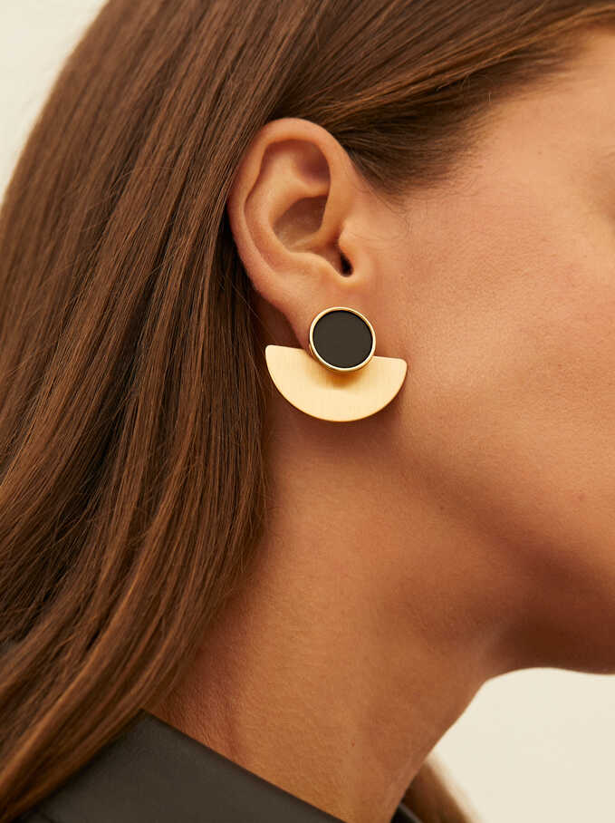Short Detachable Earrings, Black, hi-res