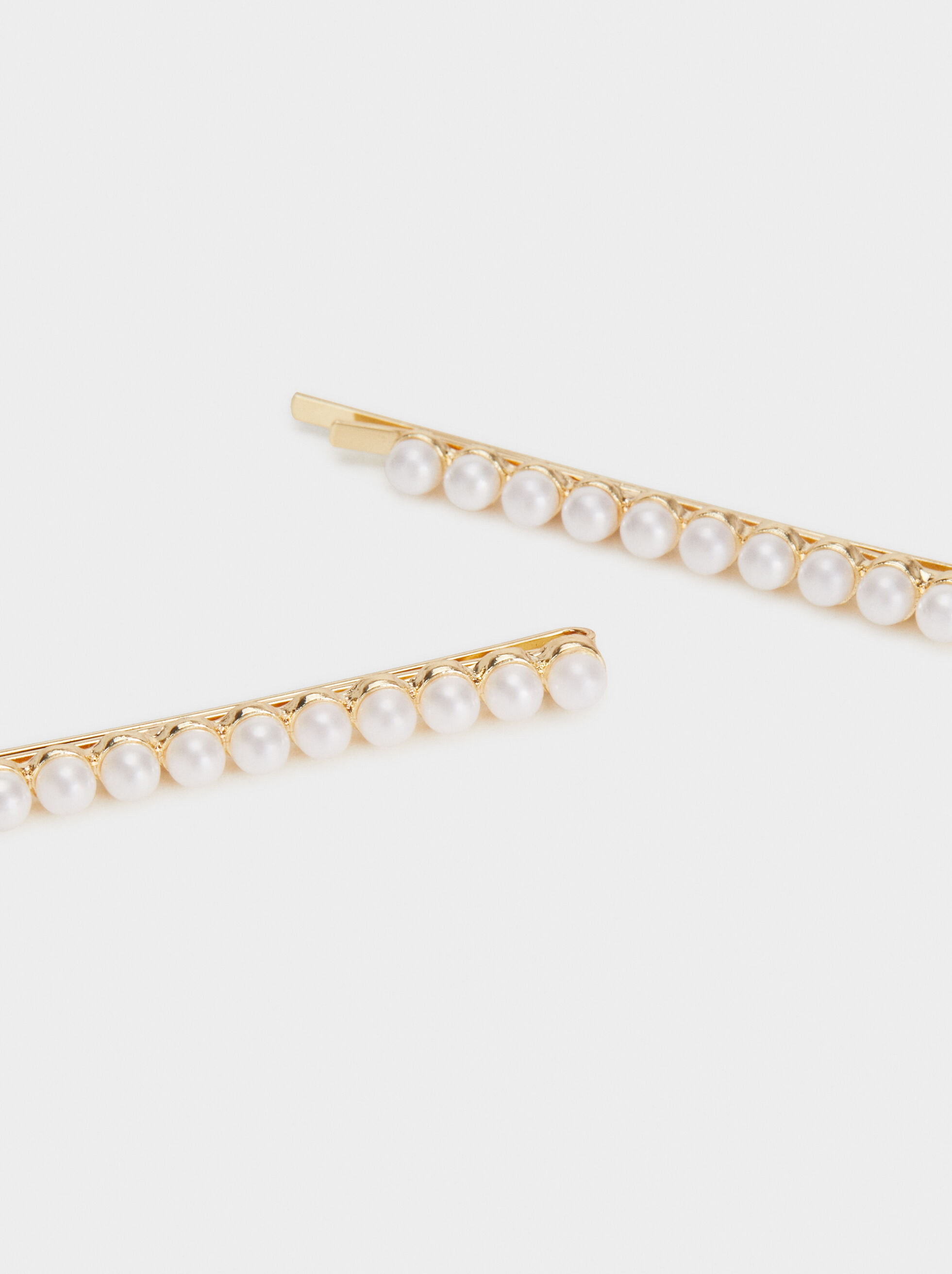 Pearl Bead Hair Slides, Golden, hi-res