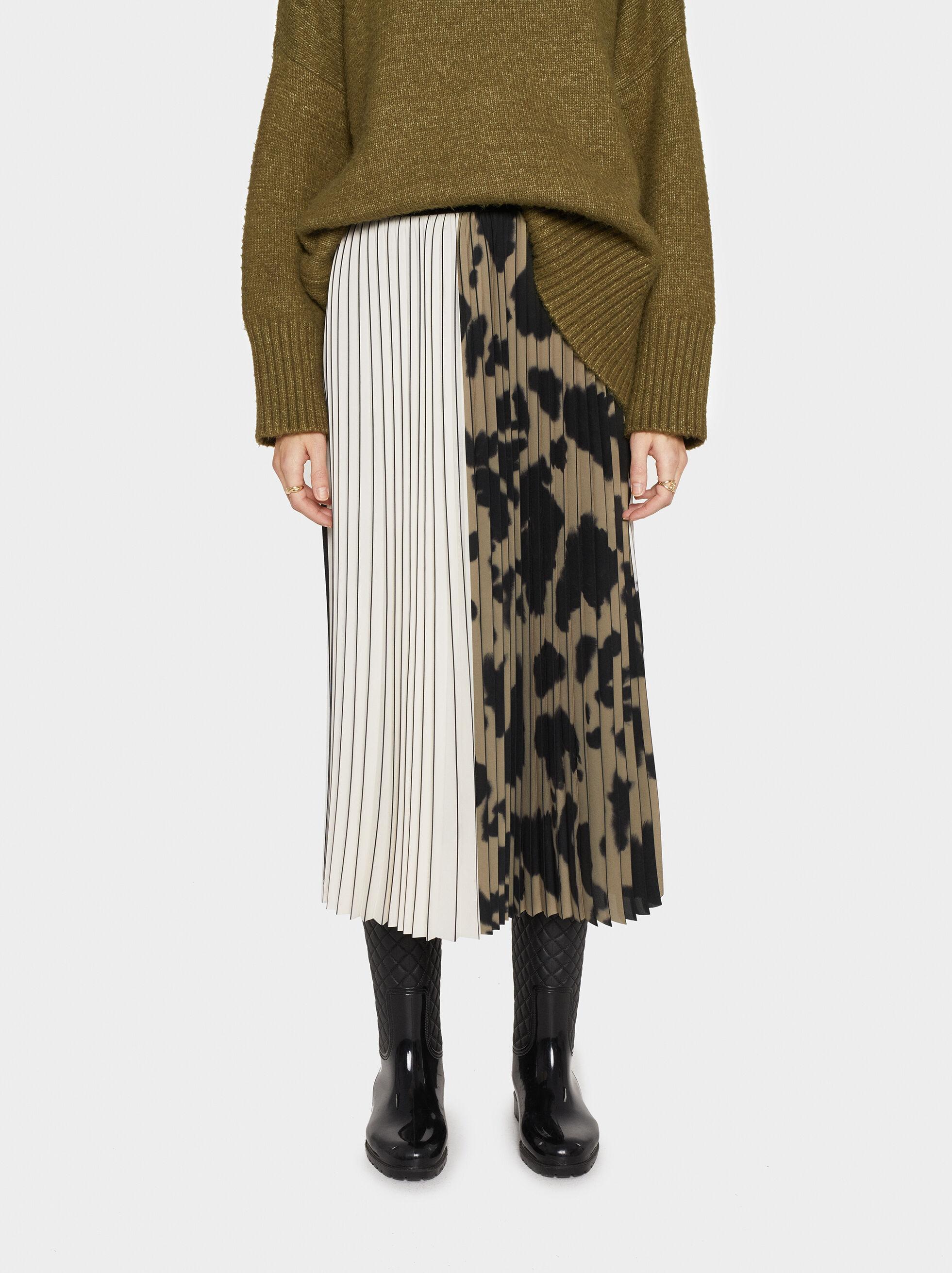 Printed Pleated Skirt, Black, hi-res