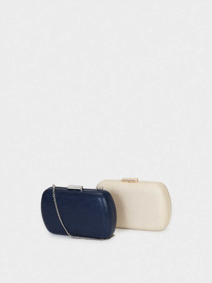 Embossed Animal-Print Party Clutch, Navy, hi-res
