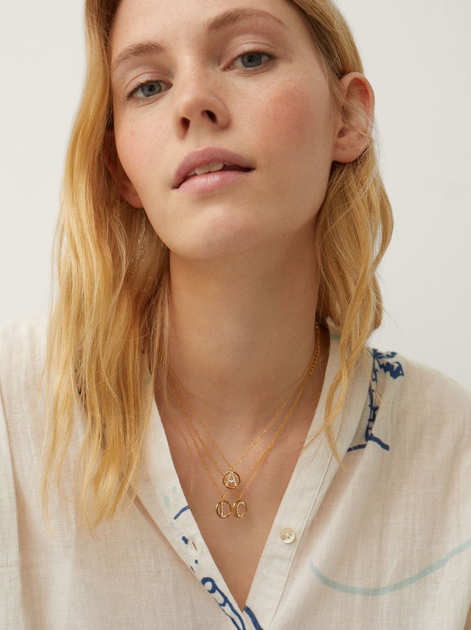 Collar Corto De Acero Con Inicial Letra A, Dorado, hi-res