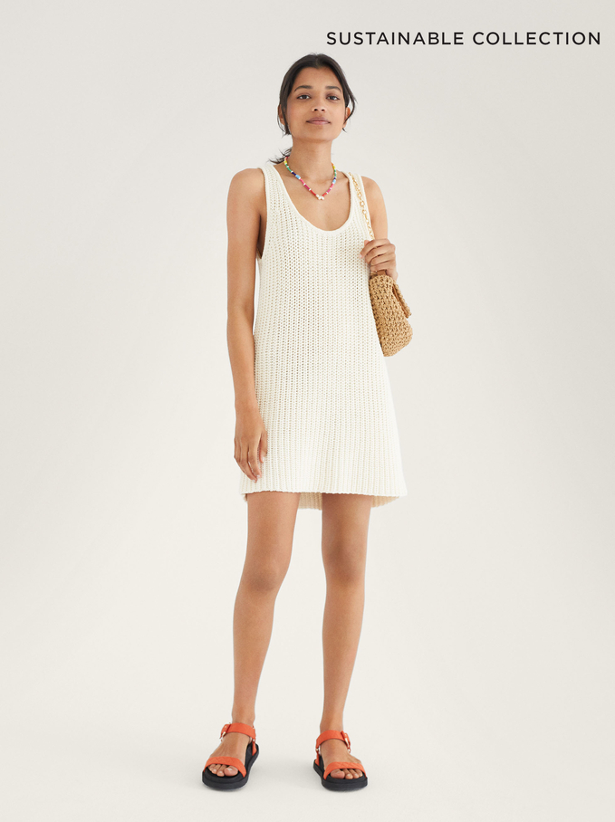Limited Edition Knitted Dress Made From Recycled Materials, Ecru, hi-res