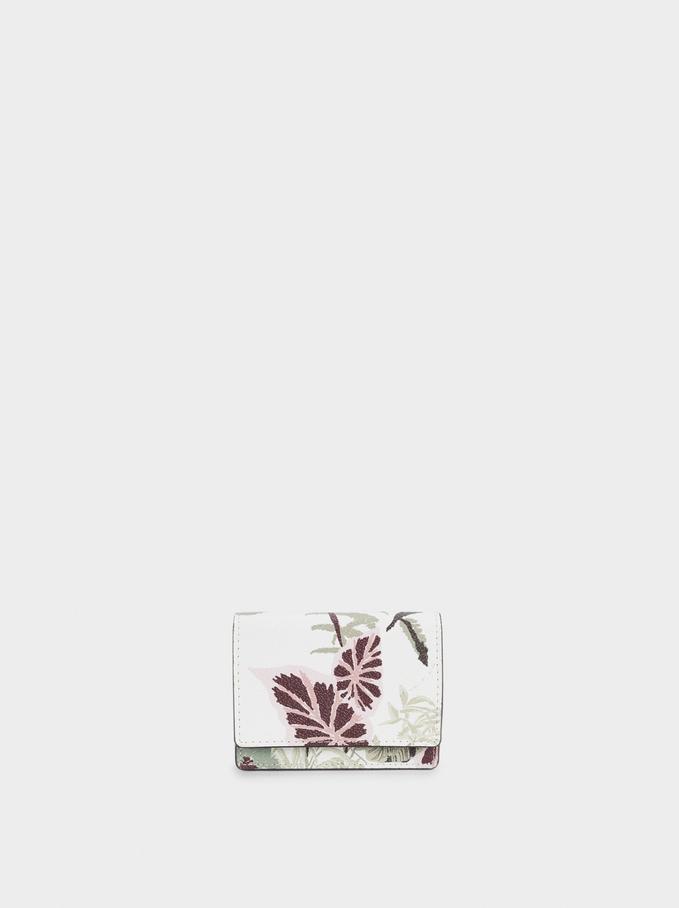 Porte-Cartes Avec Porte-Monnaie À Imprimé Feuilles, Écru, hi-res