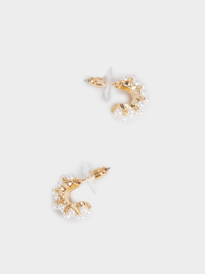 Short Hoop Earrings With Pearls, Golden, hi-res