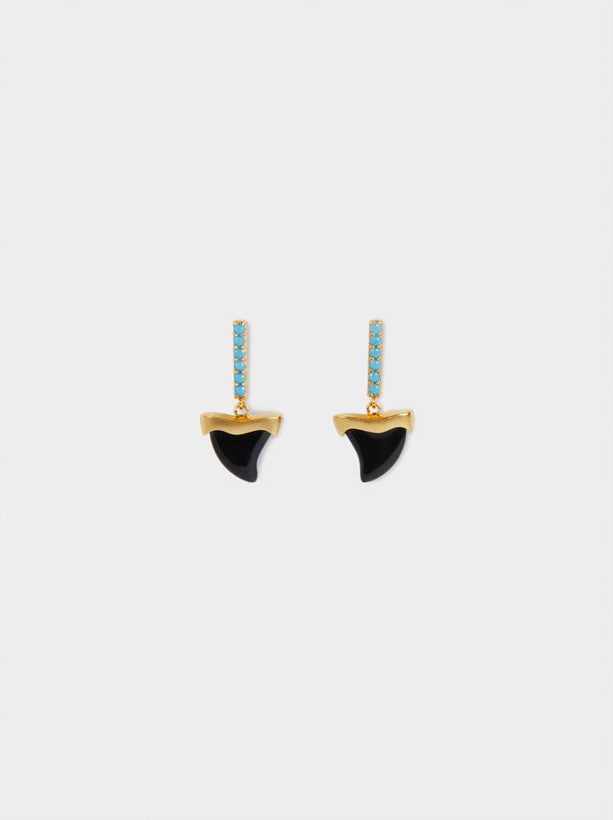 925 Silver Horn Stud Earrings, Multicolor, hi-res