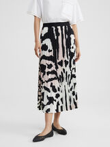 Animal Print Pleated Skirt, Pink, hi-res