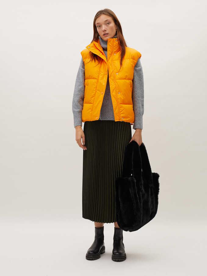 Pleated Skirt With An Elastic Waistband, Khaki, hi-res